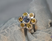 Beautiful Platinum Blue Sapphire and Yellow Sapphire Ring