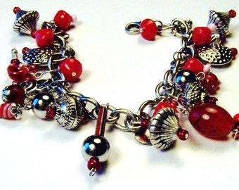 Simply Red Re-Purposed Vintage Bead Charm Bangle Bracelet
