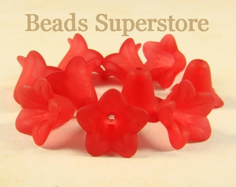 18 mm x 12 mm Red Lucite Flower Bead - 10 pcs