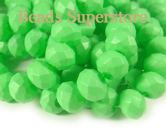 SALE CLOSEOUT 10 mm x 8 mm Neon Green Faceted Rondelle Crystal Bead - 20 pcs