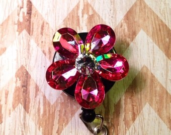Pink flower retractable badge reel