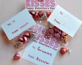 Hugs & Kisses Valentine's Treat Bags and Cards - INSTANT DOWNLOAD