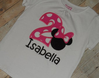 Baby toddler girls custom applique Minnie Mouse birthday shirt 12 18 24 months 2t 3t 4t 5t