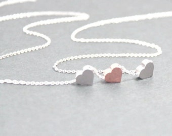 Three Hearts Necklace.Three Initial Heart Jewelry,Etsy. Rose Heart Jewelry. Minimalist , Simple,Dainty,Two Tone Jewelry. 3 Sisters Presents.