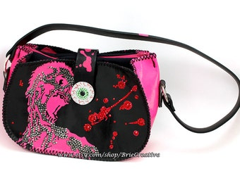 Pink & Black Leather Zombie Purse with Swarovski Crystals