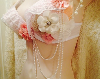 Vintage Floral Rave Bra - Size 34B --- Original Electronic Couture