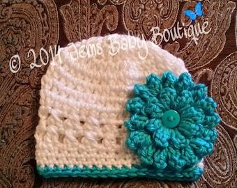 Pretty White Crochet Baby Girl Hat with Aqua flower,  Made to Order , Baby Girl  Hat with Flower,  Photo Prop Beanie