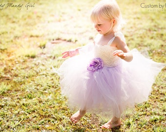"""The """"Charlotte"""" dress-Lilac tutu and Ivory Lace flower girl dress -with or without brooch flower-straps optional-floor or knee length"""