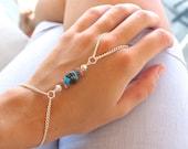 Boho Chic Slave Hand Bracelet Bohemian Hand Jewelry Ocean Wave Nautical Bracelet