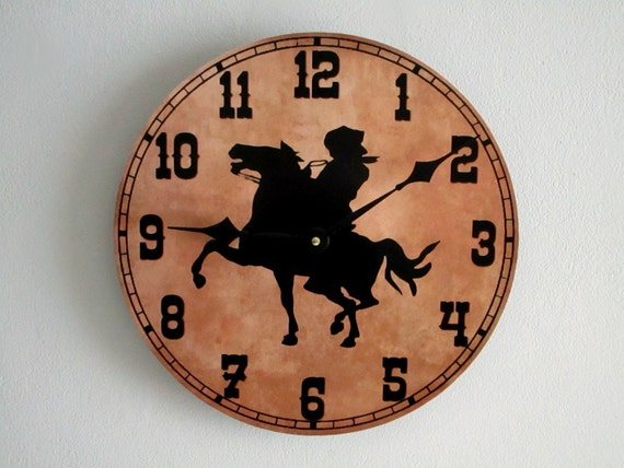 cowboy wall clock western wall clock boys room man cave decor rustic wall - Western Wall Decor
