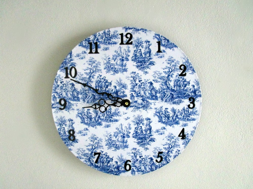 blue toile wall clock blue and white decor vintage style. Black Bedroom Furniture Sets. Home Design Ideas