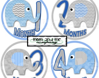 12 Baby Boy Elephant Monthly Stickers Baby Stickers Baby Shower gift 1- 12 Months onepiece sticker infant monthly stickers blue grey