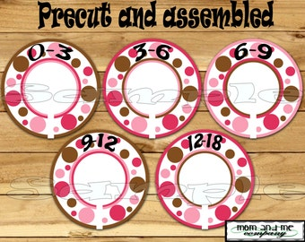 Precut Custom Closet Dividers 5 Assembled Baby Girl Clothes Dividers Size Dividers Hangers Rod dividers Pink brown dots nursery