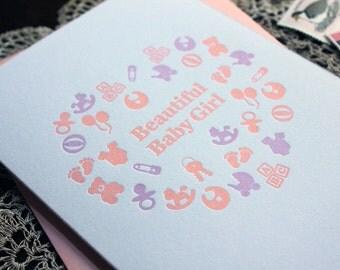 Beautiful Baby Girl Letterpress Card