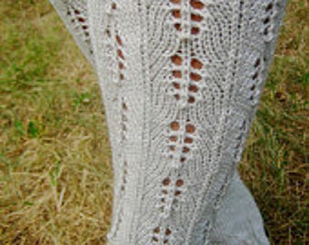 Knitted Lace Socks Knee Length Gray with Ornaments