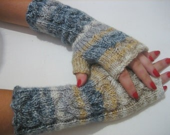 Sale Knitted Fingerless Half Gloves with Cable, Woman, Handmade, Brown, White, Blue ,Winter Half Gloves