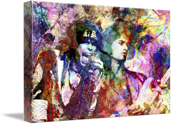 Aerosmith canvas rock and roll painting original canvas art for Canvas roll for painting