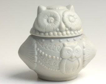 White Owls, Vintage Owl, White Porcelain Owl Candle Holder with Lid and Candle , home decor, book worm, desk accessories, collectors