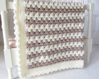 Crochet PATTERN 58 - Teddy Bear - Easy Crochet Baby Blanket - Instant Download PDF Pattern