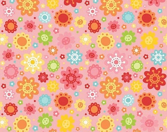 SUPER CLEARANCE! One Yard Hello Sunshine - Petals in Pink - Cotton Quilt Fabric - Lori Whitlock for Riley Blake (W575)