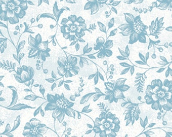 "29"" REMNANT Normandy Court - Petite Florals in White and Turquoise - Cotton Quilt Fabric - by Michele D'Amore for Benartex Fabrics (W1477)"