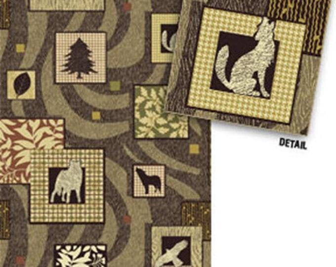"REMNANT!! Northern Exposure - Wildlife Patch in Bark - 29"" x WOF - Cotton Quilt Fabric - Benartex Fabrics (W1595)"