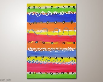 """Multicolor fine art painting on canvas: """"Youth light"""" abstract wall decor. Wall hanging painted with acrylics. Original MartinK artists art"""