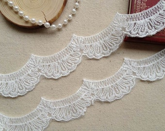 Off White Cotton Scalloped Lace Bridal Wedding Supply Craft Sewing Lace Trim 2 Yards