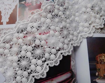 2 Yards White Cotton Lace Vintage Embroidered Lace Trim Supplies Commercial Lace
