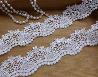 White Venice-Style Lace Trim, Wedding Floral Lace, Bridal Headband Lace, Jewelry Lace Costume design