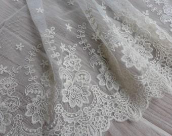 "Ivory Wedding Lace Trim 12.6"" Embroidered Tulle Flower Net Lace Trim for Bridal Dress Home Decor Costume Supplies"