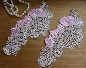 Applique Lace, Flower Applique, Pink Flower Applique Lace, 2 Pcs