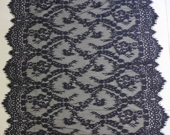 Exquisite Eyelash Floral Lace In Black For Gowns, Wedding Tablecloth Or  Table Runner