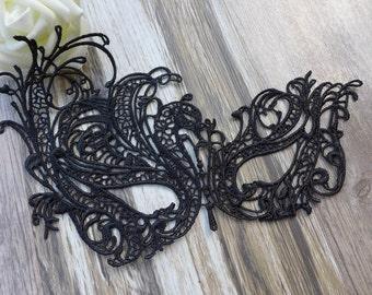 Beautiful Black Venetian Lace Mask, Masquerade Ball Mask, Wedding Mask, Halloween Mask