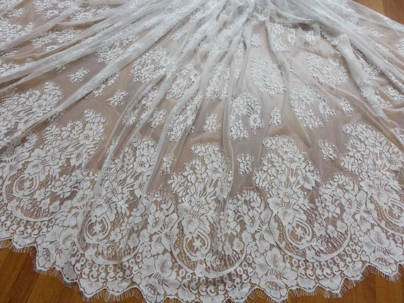 Chantilly Eyelash Fabric In Off White For Wedding Gown
