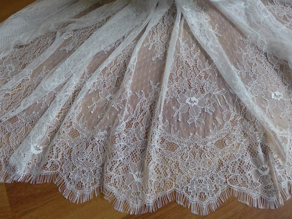 White french chantilly lace fabric elegant floral wedding for Bridal fabric