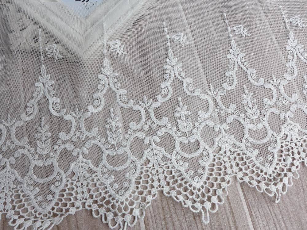 Vintage Embroidery Lace White Tulle Lace Fabric Trim Cotton