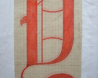 Letter Y  Original 19th Century Handpainted Textile Design Monogram Initial Antique Print French Gift for Paper Anniversary Gifts for Couple
