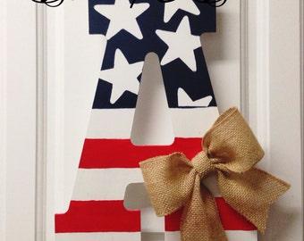 4th of July door hanger, red, white & blue