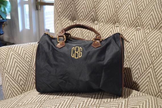 Navy Monogrammed Bowler Bag