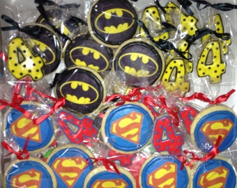 Superhero Cookies; Superheroes; Superhero Party Favors, Batman, Superman, Spider-Man, Super hero cookies