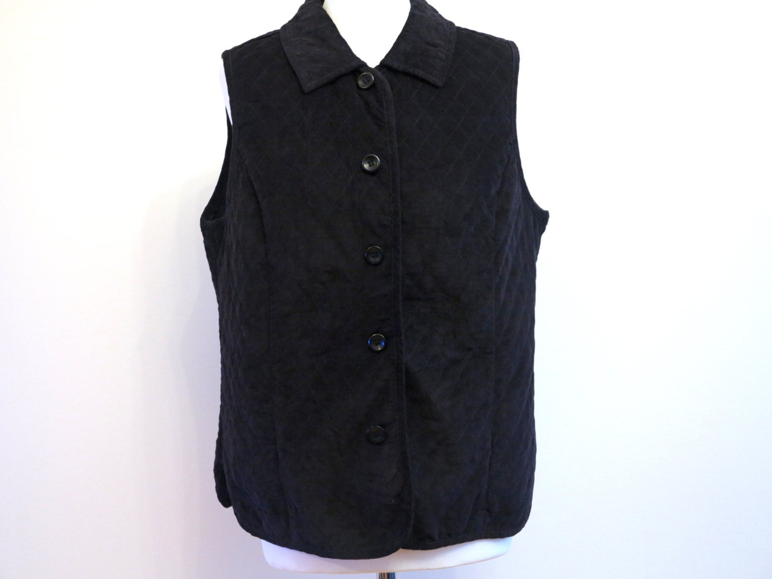 Black Quilted Corduroy Vest Womens Formal By VintageOffer