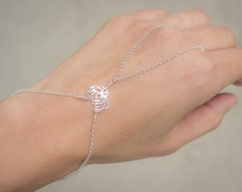Sterling Silver Flower Finger to Wrist Slave Bracelet