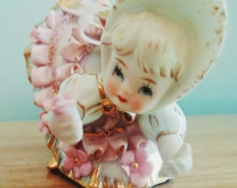 Geo Z. Lefton China Bloomer Girl Figurine KW1412. with Pink Ruffles and Flowers. Collectible Kitsch. Gift for Her. Girl's Room Decor.
