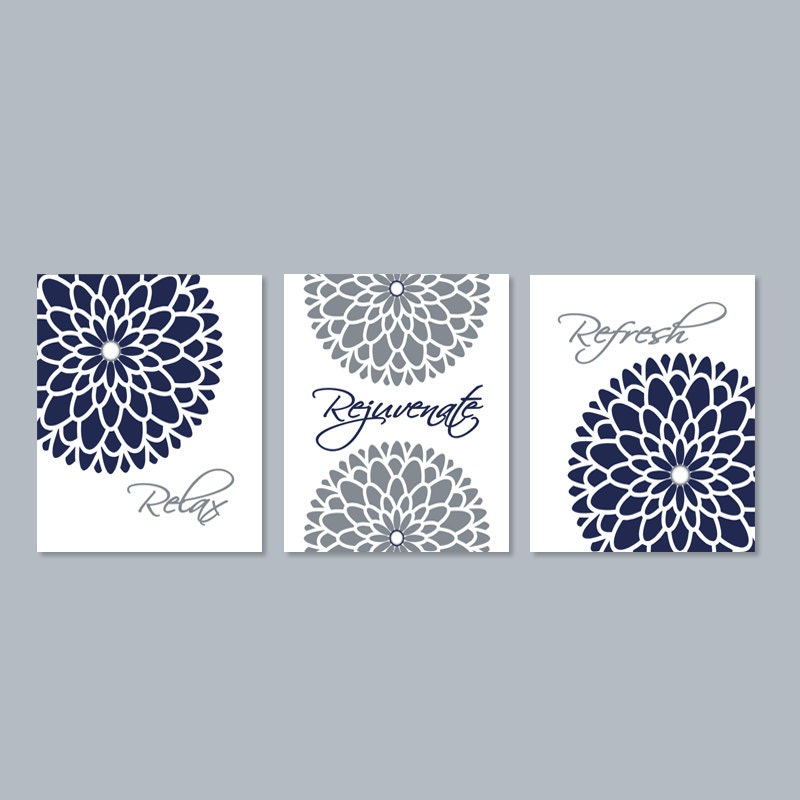 Modern floral flower flourish artwork set of 3 trio prints for Navy blue and grey bathroom decor