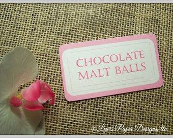 Pink and Ivory Candy Buffet tags - Candy or Dessert Buffet Label - Candy Tags