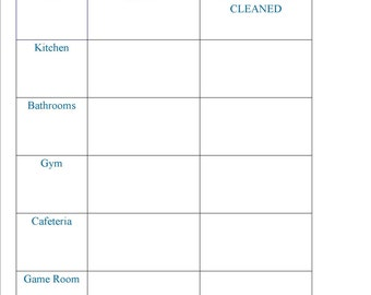 Daycare Cleaning Chart - Organizational Chart - Cleaning Chart