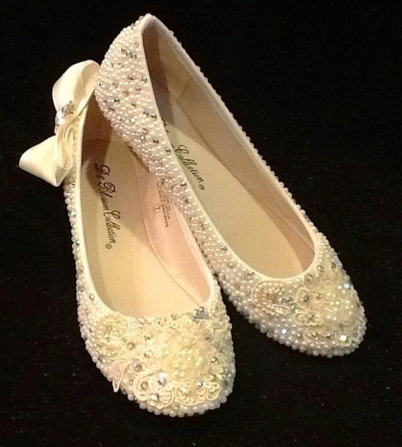 Plus Size Wedding Shoes Bridal Flats Beaded By Elfinacreation