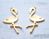 2 Pieces Gold Color Jewelry Connector, Flamingo Figure Metal Charm
