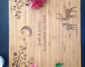 Personalized cutting board perfect wedding gift! Two Deer in love under the Moon